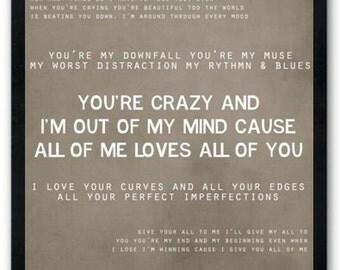 All of Me / John Legend / Lyric / Digital Typography Poster