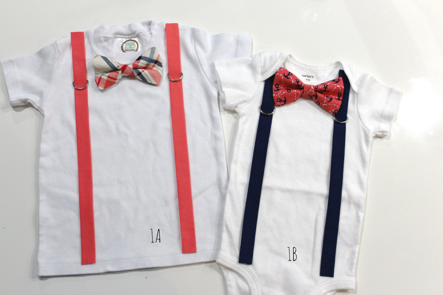 coral bow tie and suspenders navy and by