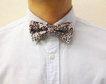 Gus - Brown Floral Men's Pre-Tied Bow Tie or Self-Tied Bow Tie