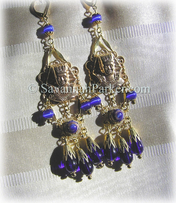 Antique Style 1920s Deco Egyptian Revival Earrings - Vintage Pharaohs Cobalt Blue Glass - Egyptian Jewelry - Egyptian Style Earrings