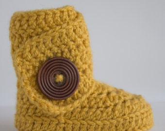 Mustard Yellow Infant Crochet Side Wrap Boots- Choose Your Size
