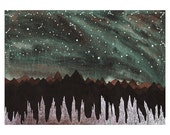 Northern Lights Art, Fine Art Print- Aurora Borealis and the Ice Forest