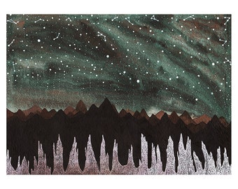 Fine Art Print- Aurora Borealis and the Ice Forest