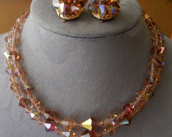 Amber Aurora Borealis Austrian Crystal Bead 2 Strand Choker Necklace & Earrings Set