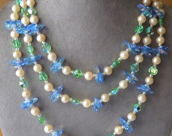 3 Strand Pearl & Blue / Green Choker Necklace