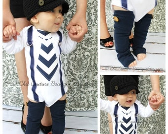 Baby Boy Tie and Suspenders Bodysuit & Button Leg Warmers Navy Blue Chevron 1st Birthday Outfit Cake Smash Wedding Ring Bearer, Father's Day