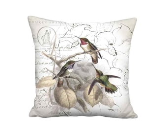 Hummingbird Glow Pillow Cover - French Linen Cottage Bird Pillow - 16x 18x 20x 22x 24x 26x 28x Inch Linen Bird Cushion Cover