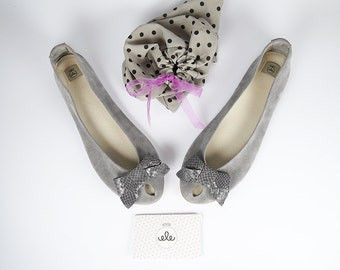 Handmade Gray Peep Toe Ballet Flats Shoes with Exotic Leather Bows