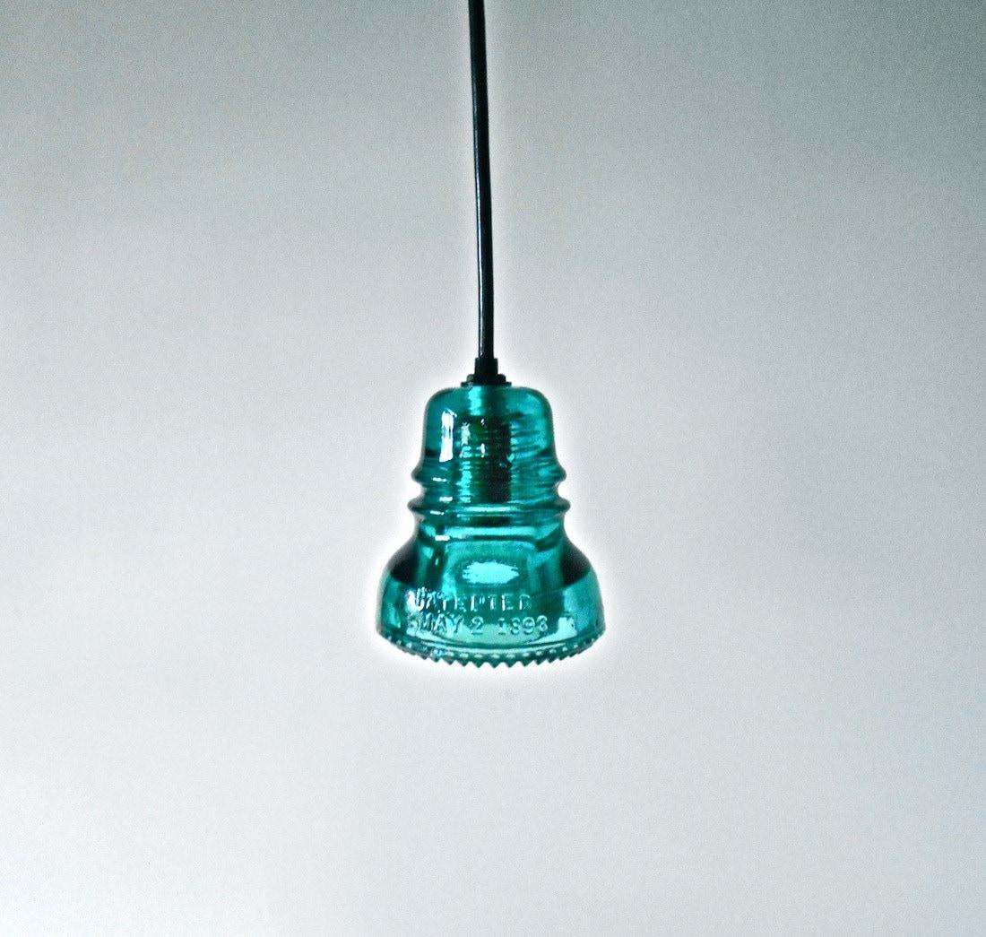 Custom antique aqua glass insulator lights by for Antique insulator pendant lights