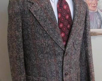 VINTAGE Mens Bespoke TWEED JACKET 1958  Multi colored Blazer Extra Thick Black Blues Reds Grey Tweed in 3/2 Trad Style