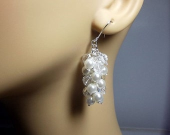 White Pearl and Crystal Earrings, Christmas Gift, Mom Sister, Wedding Jewelry Bridesmaid Earrings