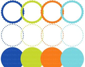 digital frames clipart scalloped circle clip art labels tags - Boy Monsters Birthday Bash Circle Frames
