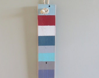 Beach Decor Wall Hanging Wood Light Blue Red Navy Blue White Turquoise Dusty Blue Yellow Green Gray recycled seashore ocean