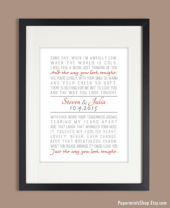 Wedding Song Lyric Art First Dance Song Anniversary Gift Song