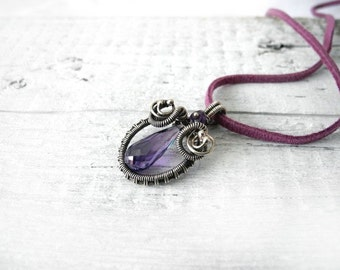 Wire wrapped necklace, silver necklace, purple Zirconia necklace, cubic Zirconia, amethyst necklace for her
