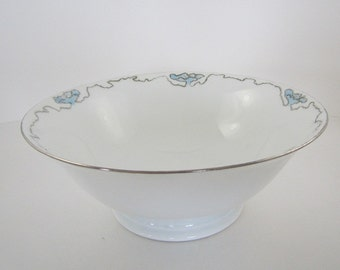 """Bowl Serving Dish Holds 3 1/2 Cups White Blue Floral Silver Ribbon  """"Favorite"""" Bavaria"""
