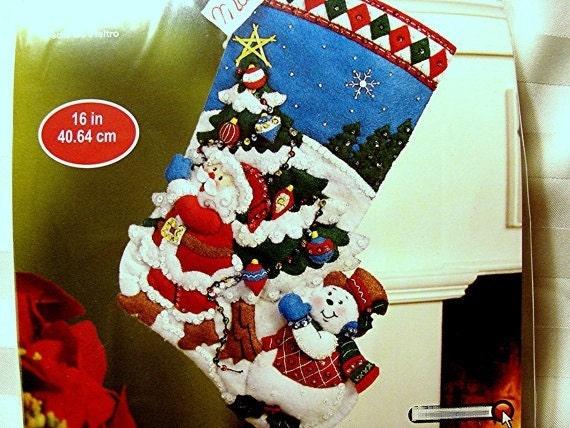 Felt Christmas Stocking Kit UNOPENED Beads Sequins 16 inch ...