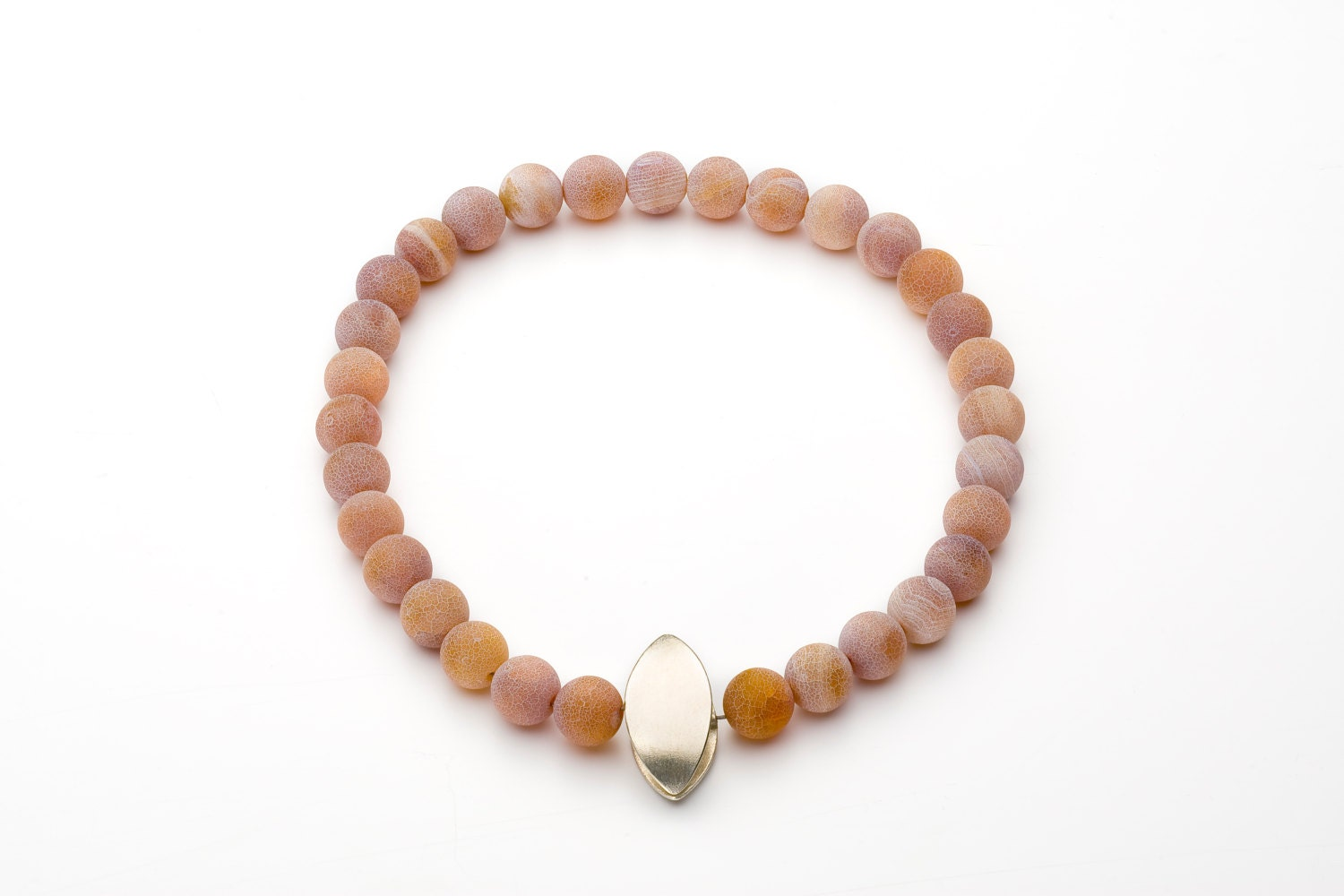 Chain, 925/000 Silver, Iris agate, beige pink, with magnetic closure ...