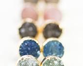 A'ia'i earrings - gold druzy stud earrings, gold druzy post earrings, gold stud earrings, post earrings, drusy earrings, maui hawaii jewelry