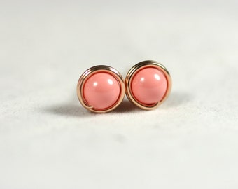 Rose Gold Pink Coral Stud Earrings Wire Wrapped Jewelry Handmade Rose Gold Stud Earrings Pink Coral Jewelry Rose Gold Jewelry Pink Gold Stud