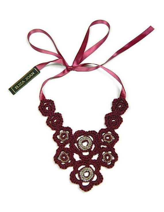 burgundy flower necklace bib necklace crochet jewelry
