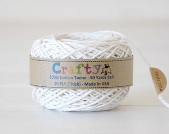 Natural Cotton Twine - Bakers Twine - 100% Cotton Twine - 50 yards Ball - 8ply  Twine