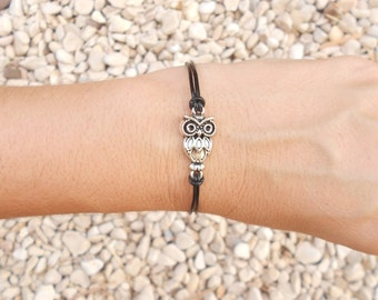 Silver owl bracelet, Leather silver bracelet, Gift for her