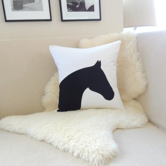 Horse Head Pillow Cover Modern Equestrian