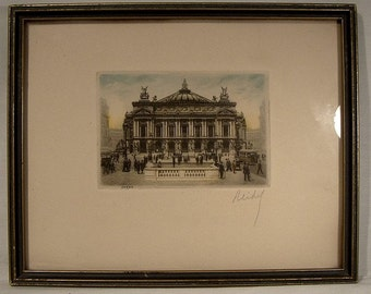 Reidel Framed Paris Opera House Engraving 1920s to 1940 Copperplate Engraving Signed