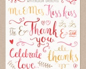 Valentine's day Overlays - Watercolor Script Lettering Wedding Thank you Love Valentines - INSTANT DOWNLOAD