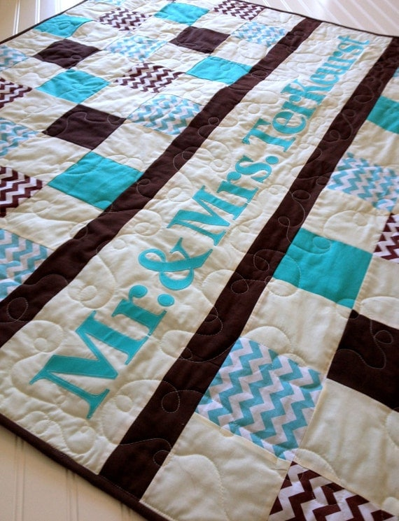 Quilt Patterns Wedding Present : Wedding Quilt Patchwork Monogram Name Quilt Custom Made by SewEMG