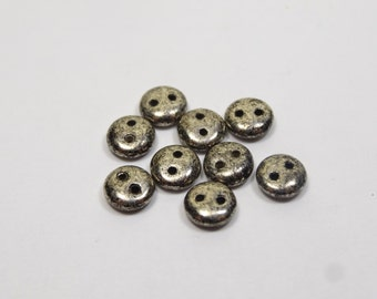 2 Hole 6mm Glass Lentils Antique Silver  50 Pieces