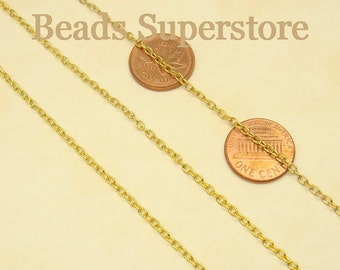 SALE 3 mm x 2 mm Gold-Plated Cross Chain - Nickel Free and Lead Free - 3 meters (about 10 feet)