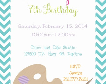 Girl Painting Party with Artist Palette Invitation