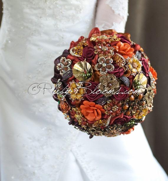 gold autumn wedding brooch bouquet