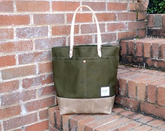 Waxed Canvas Tote Bag with Leather Handles - Large Olive Green & Tan Color Blocked Tote