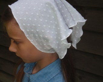 Soft Cotton in White~ Ladies Kerchief {Head Covering}