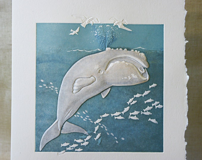 Right Whale Note Card. Baby Shower. Birthday. Embossed. Letterpress. Single card. Blank inside.