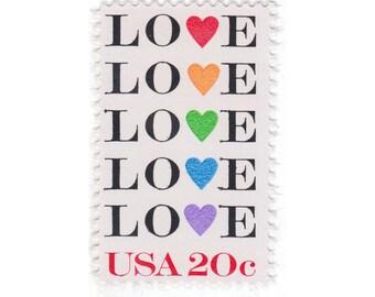 1984 20c Love Hearts - 10 Vintage Unused Postage Stamps - No. 2072