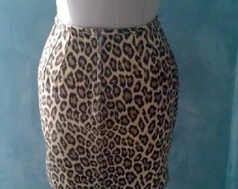 Jean Paul GAULTIER VINTAGE leopard denim mini skirt - made in Italy - 1980's designer fashion - Rare - size S