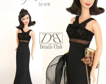 "Sewing pattern for 11 1/2"" doll (Barbie): Evening Gown"
