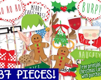 MEGA PACK Christmas Photo booth Props - PRINTABLE - 37 piece - Instant Download, Print, Party - Christmas Photobooth Paper Props Diy