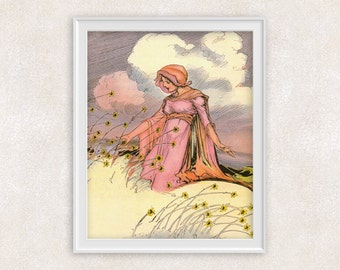 Lady in a Flower Meadow - Vintage Art Print - 8x10 Wall Art - Home Decor - Office Art - Item #100