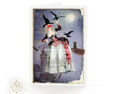 Halloween card, Witch on broomstick, Halloween witch, black cat, bats, crow, gothic, haunted castle, full moon, blank card, holiday card
