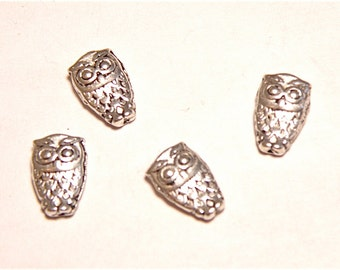 30% OFF -- Twelve (12) Dainty Owl Silvertone Spacer Beads