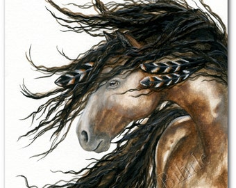 Majestic Horse - Pinto War Paint Feathers - Fine ArT Prints Bihrle mm80