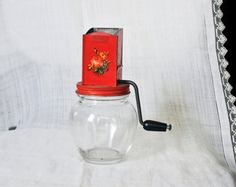 Nut Grinder, Red Orange Metal Top Flower Decal Vintage Hazel Atlas 1950's Kitchen Grinder, Red Kitchen, Kitsch Kitchen, Hazel Atlas Glass