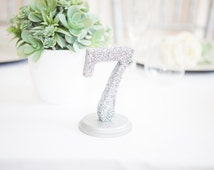 Glitter Table Numbers for Wedding Decor Table Number Signs for Wedding Table Decor Silver Table Numbers Wedding Centerpieces (Item - GLI110)