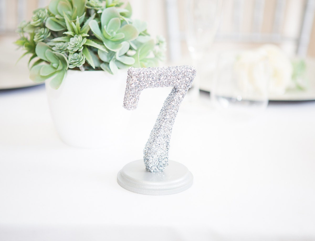 Glitter table numbers standing table numbers for reception for Glitter numbers for centerpieces
