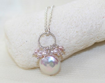 Pink Freshwater Coin Pearl Necklace, Pink Pearl Cluster, Pearl Pendant, June Birthstone, Pearl Jewelry, Bridesmaid Wedding Jewelry